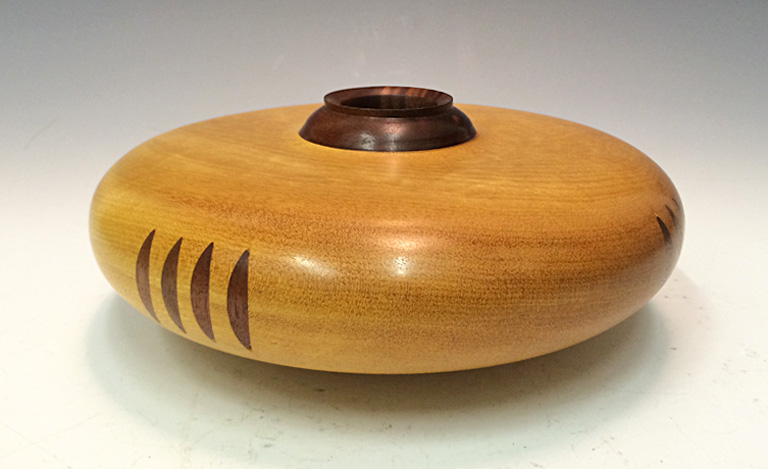 Sacred Vessel Series - Anazi Seed Jar  3x7.5x7.5  yellowheart and walnut woods  $160