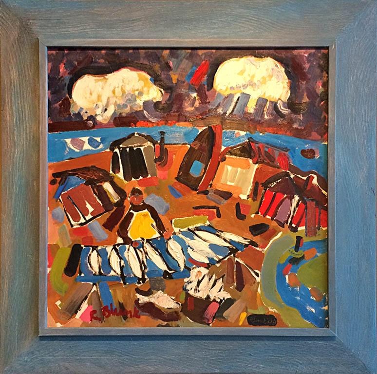 Coastal Series - Eight Fish and Man 24x24 ob $3,200 artist frame
