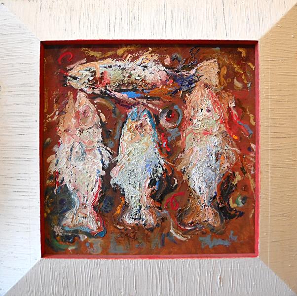 Four Fish (artist frame) 24x24 op $3,200