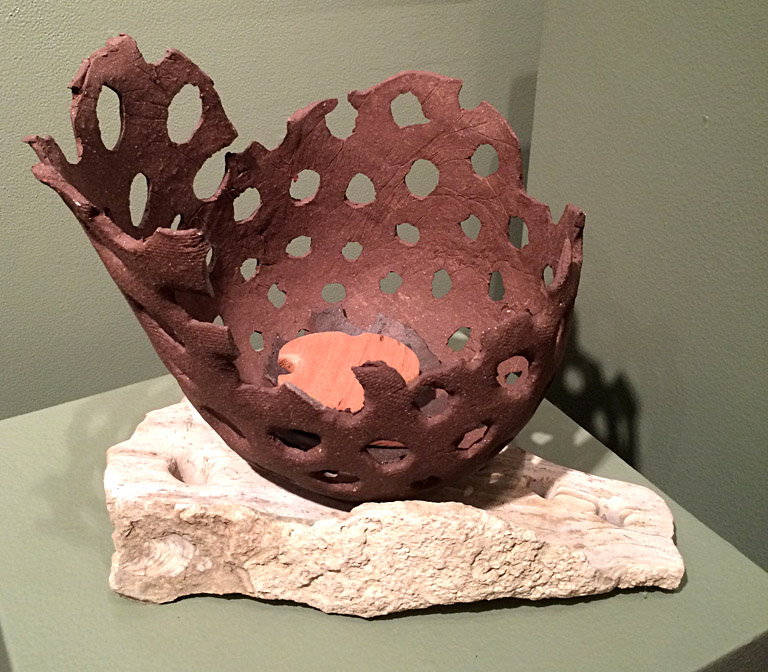 Made-up Prairie Microbe Model 5  12x14x10  limestone, ceramic, wood  SOLD