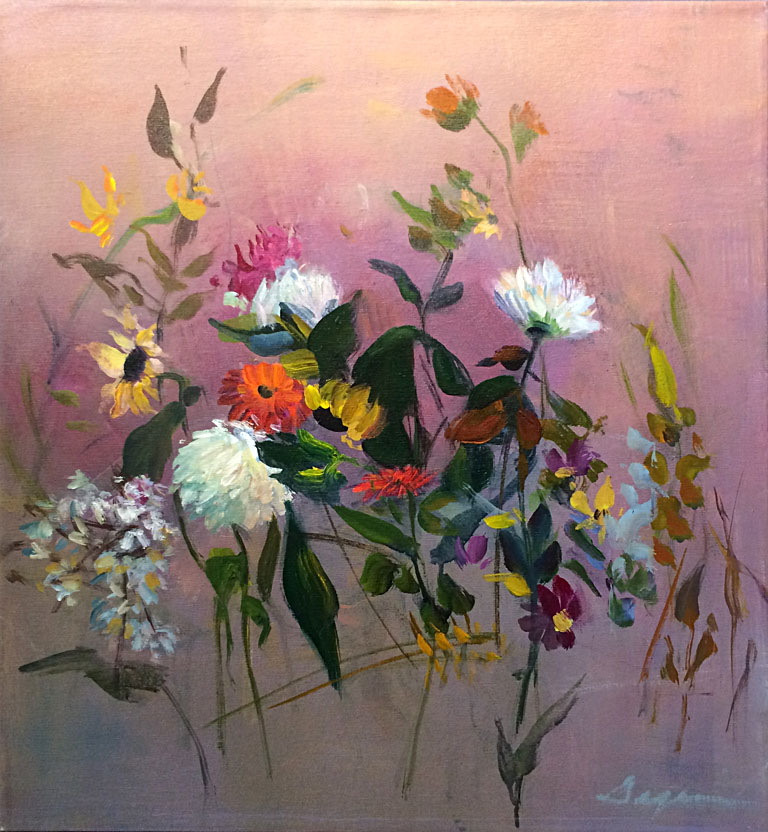 Dahlias and Sunflowers IV  28x26  ac  $1,200 uf