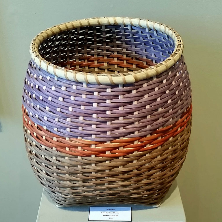 Autumn 13x12x12 hand-dyed woven basket SOLD