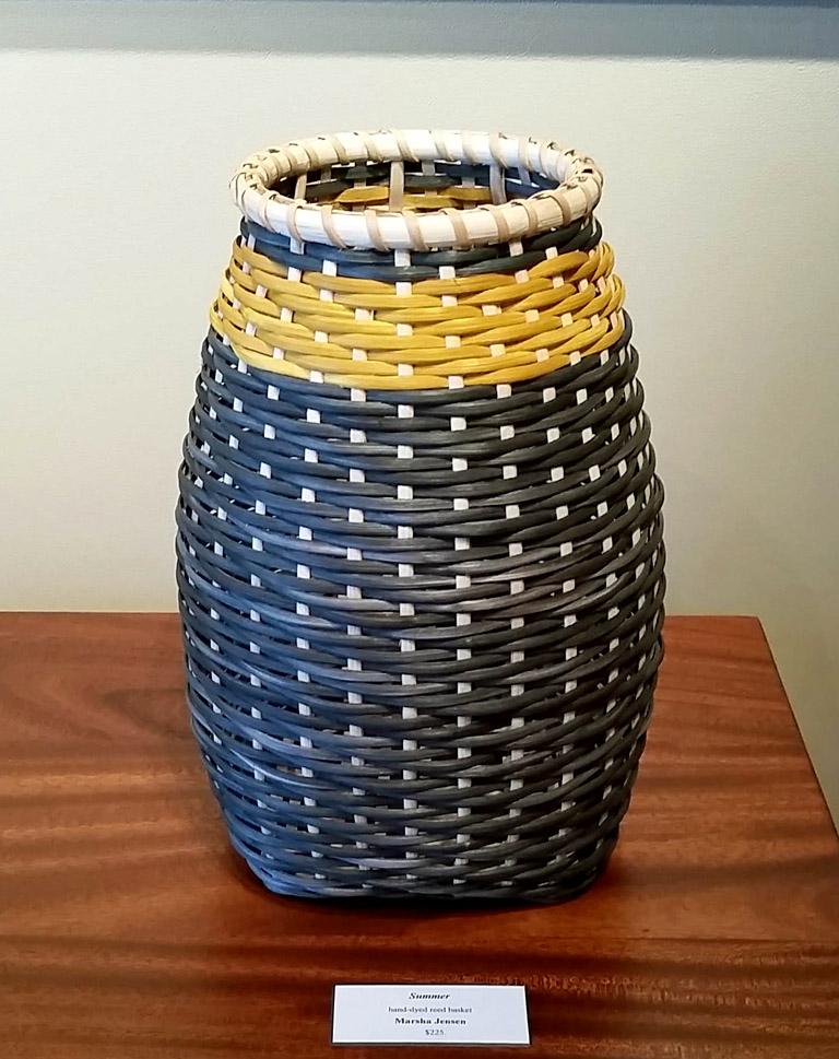 Summer 13x9x9 hand-dyesd woven basket $225