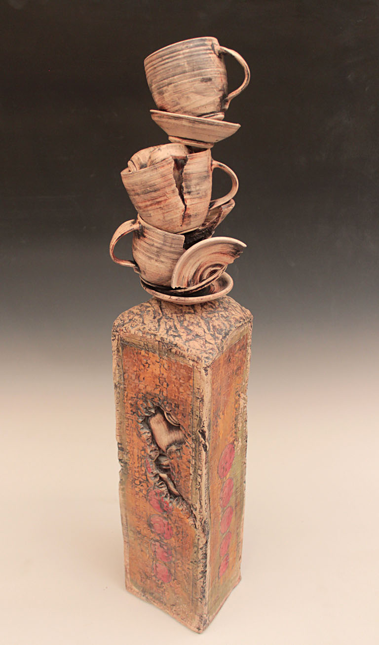 Stacked Cup Set in Ruin I  34x7x7  earthenware, H31  $1,225