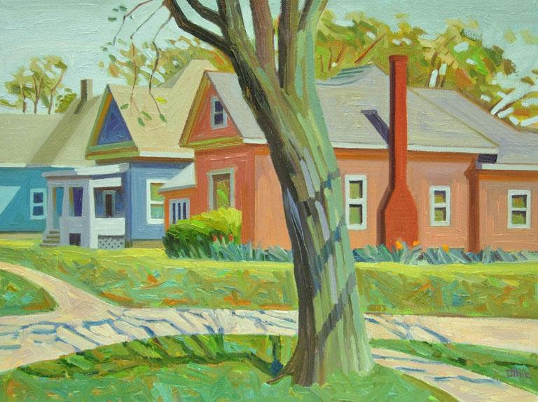 Three Houses in Spring, Maple 12x16 oc $400 fr