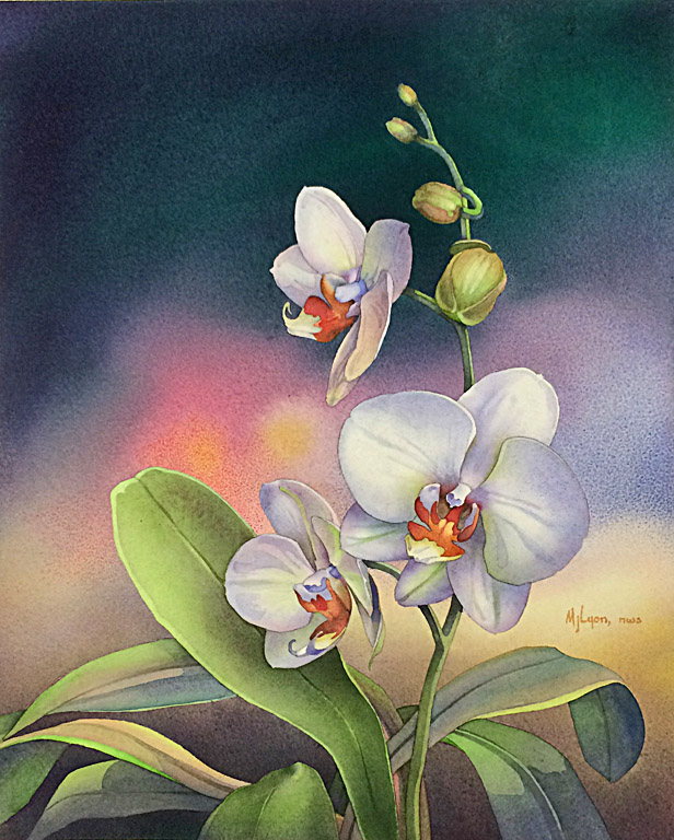 Sharon's Orchid  18.5x15.5  wc  SOLD