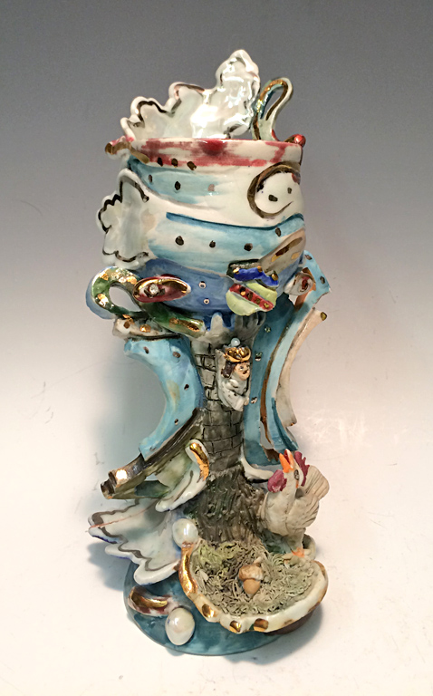 Chicken Little Goblet  9x5x3.5  ceramic  $250