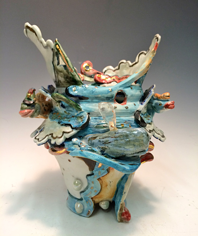 Fishing for Compliments - A Whale of a Vessel  8x6.5x6  ceramic  $275
