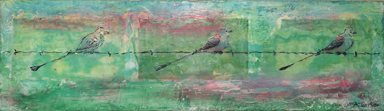 Prairie Privilege - Catching a Rest  4x14  encaustic  $230 fr