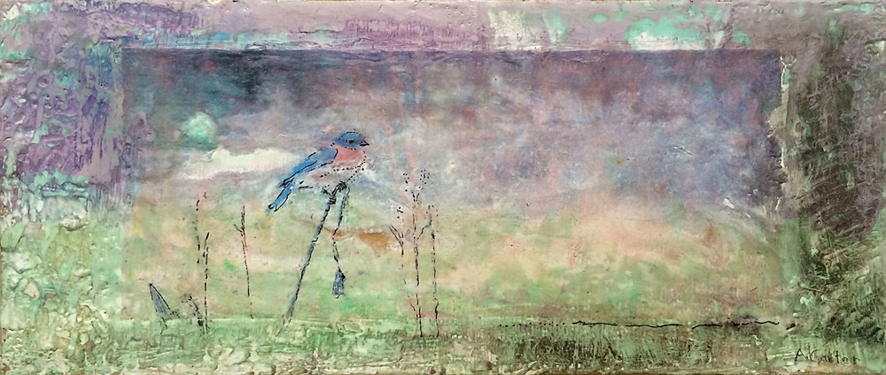 Prairie Privilege - To Carry the Sky  6x14  encaustic  $325 fr