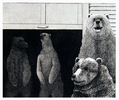 U is for Ursus Amercanus, Ursus Arctos Maritimus, and Ursus Thibetanus  8x9  etching  $275