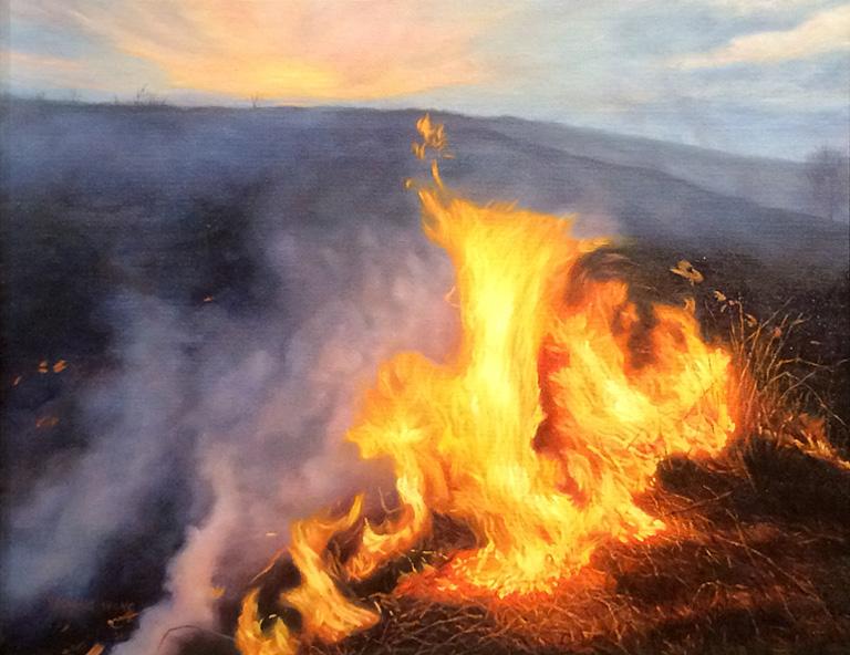 Burning at Sunset 16x20 oc $800 fr