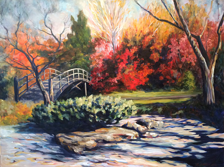 Autumn Bridge  36x48  oc  $2,500