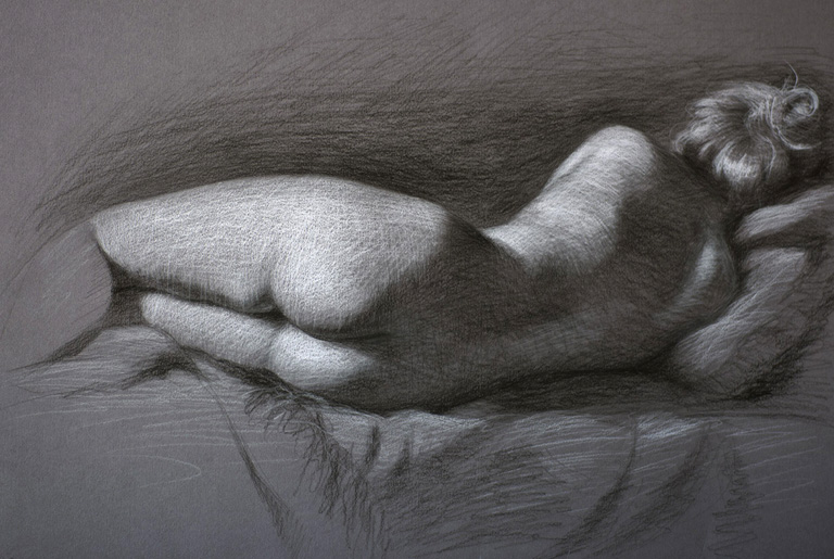 Poetry in Repose  14x19  charcoal  SOLD