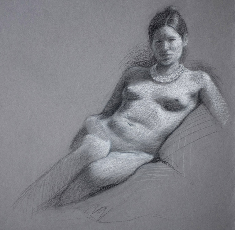 Sara with Pearl Necklace 14x14 charcoal $550 fr