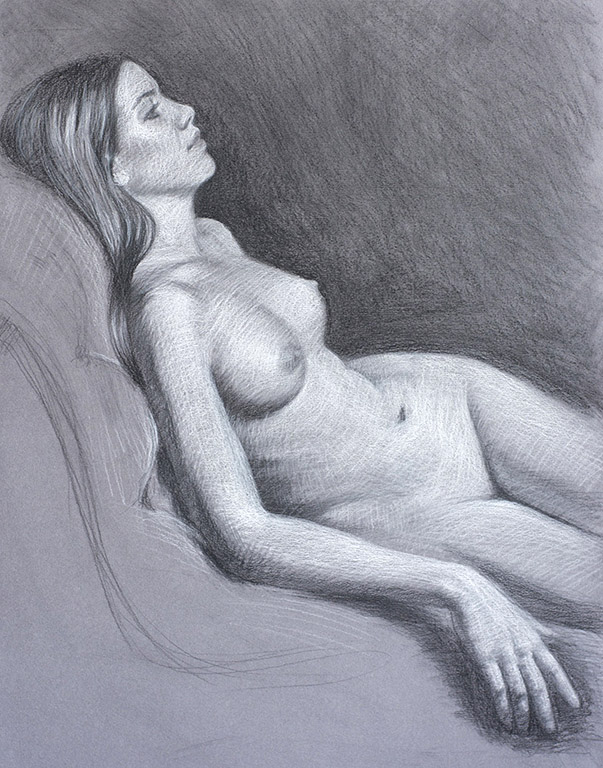 Scarlette Lost in Thought 19.75x15 charcoal $725 fr