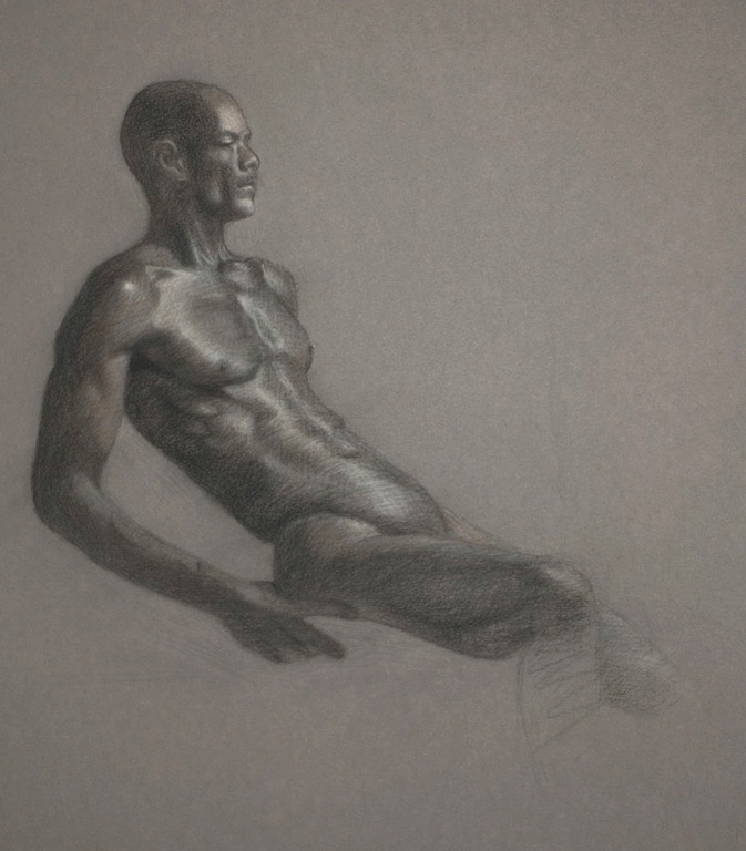 The Athlete  15x14  charcoal  SOLD