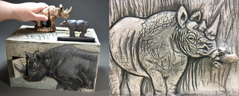 Interactive Rhino Box 11x12x8 ceramic, mm $1,325