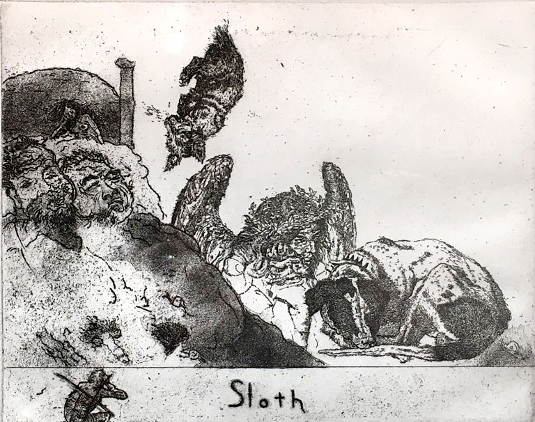 Sloth  6x8  etching  $350 fr