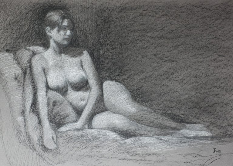 Contemplation  14x20  charcoal  $675 fr