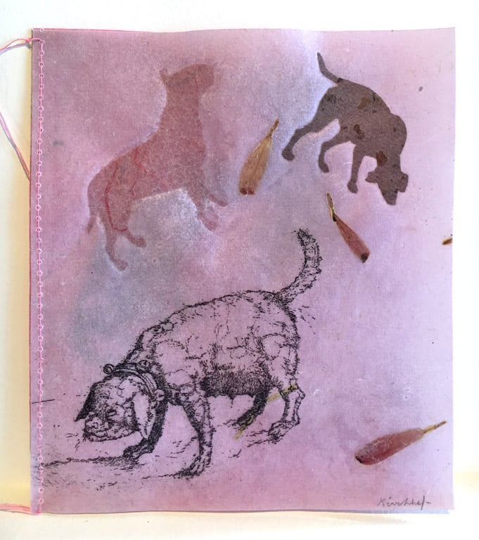 Artist Book - 3 Dog Book  5x4  mm with embossing  $250