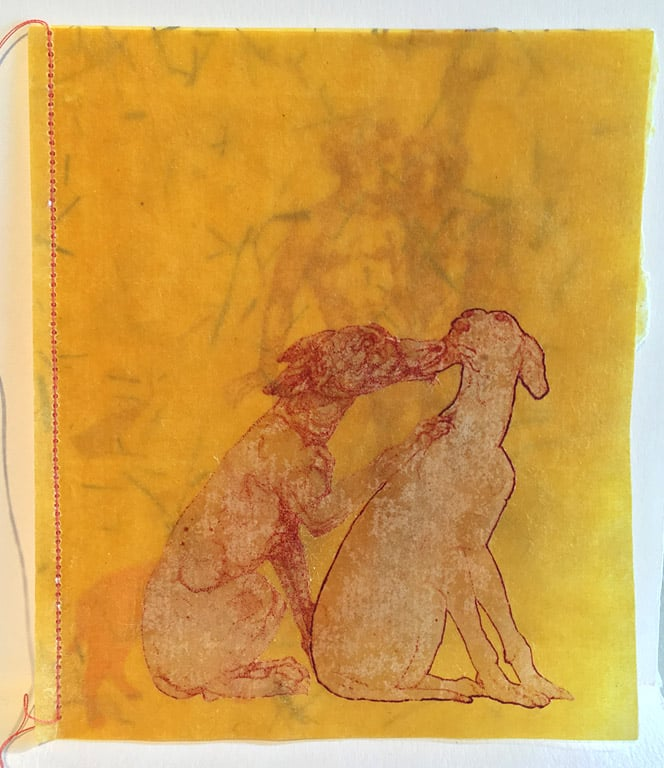 Artist Book - Dog Sutra  5x4  etching, chine colle, waxed Asian paper  $250