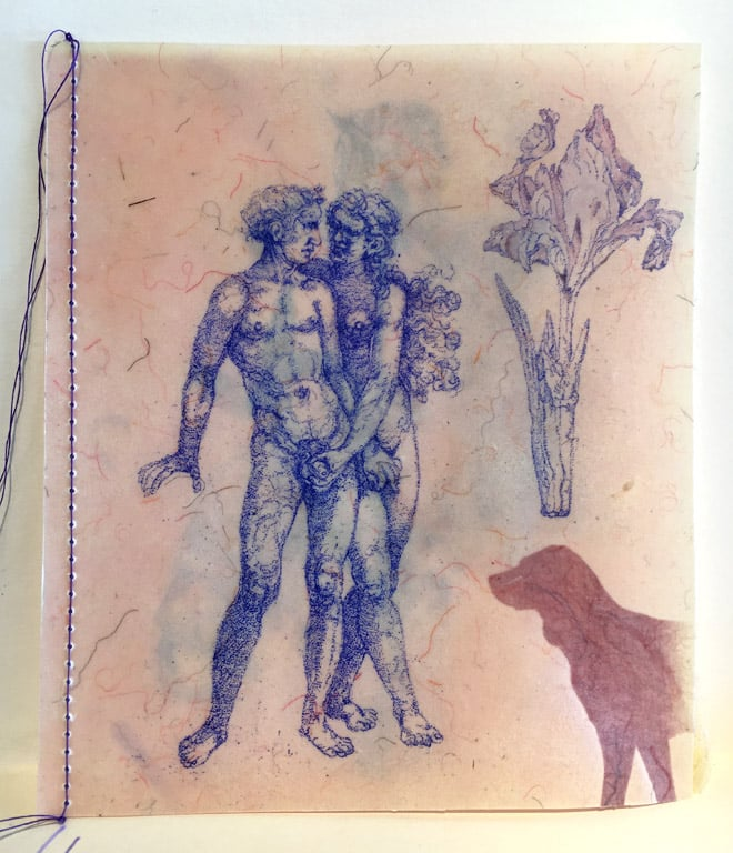 Artist Book - Lascivious Couple, Dogs, and Flowers  5x4  mm  $350
