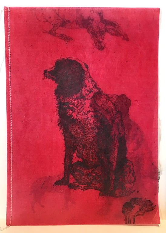 Artist Book - T's Dog and H's Dog  7x5  mm with embossing  $300