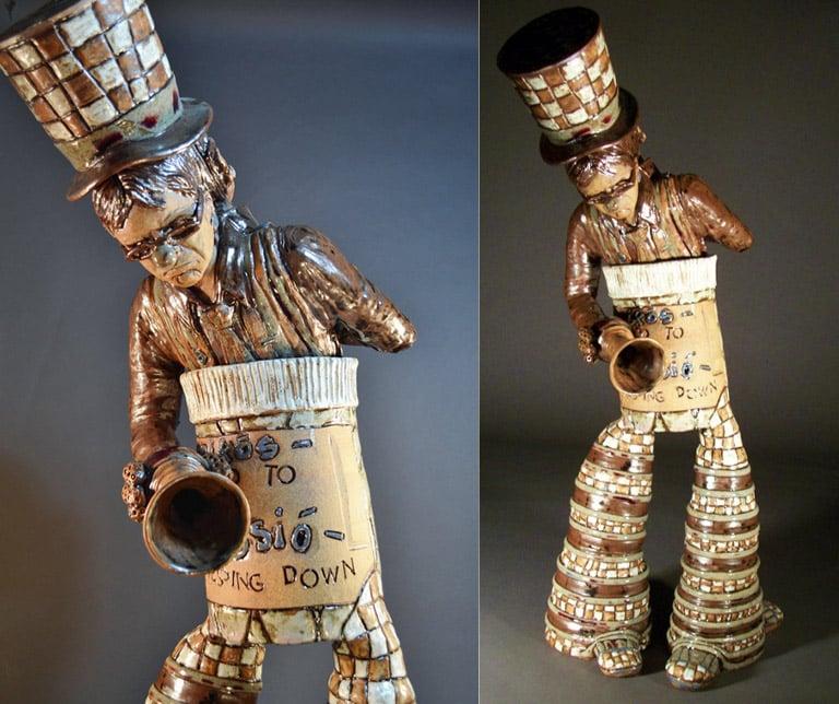 Ringmaster and the Sad Clown - a Bi-polar Self-Portait 39x14x16 ceramic $3,500