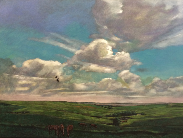 Cloud Shadows, Flint Hills  30x40  oc  $2,500 fr