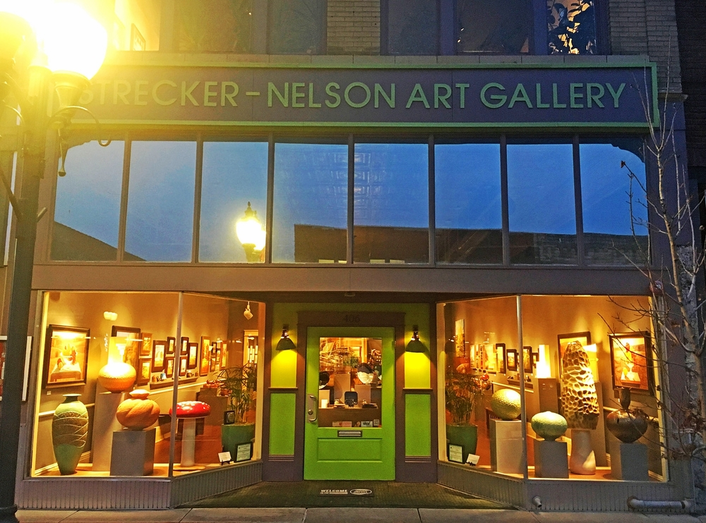 The Strecker-Nelson Gallery is the oldest commercial art gallery in Kansas. It is located on the main street, Poyntz Avenue. There is more than 5000 sq ft for display and approximately 150 artists are represented in all media.