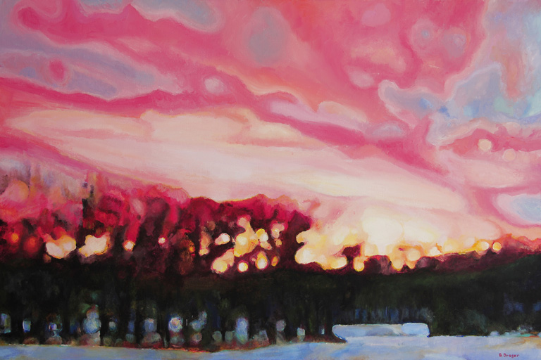 Sunset Through the Trees  24x36  ac  $1,900 fr