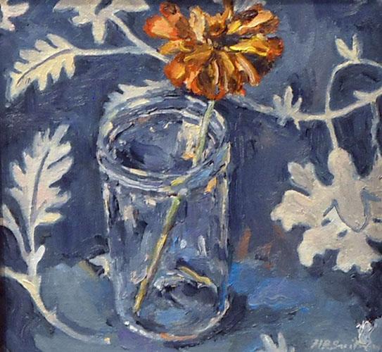 All Blue, Jelly Glass with Zinnia 6.5x6.5 oc $325