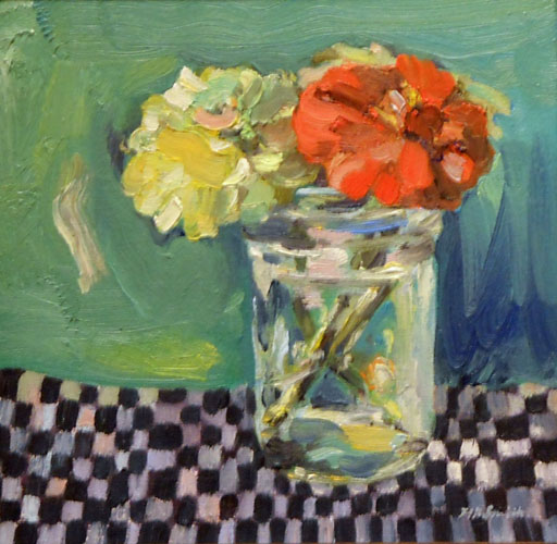 Before Frost, Jar with Zinnias on Checks  9x9  oc  $450