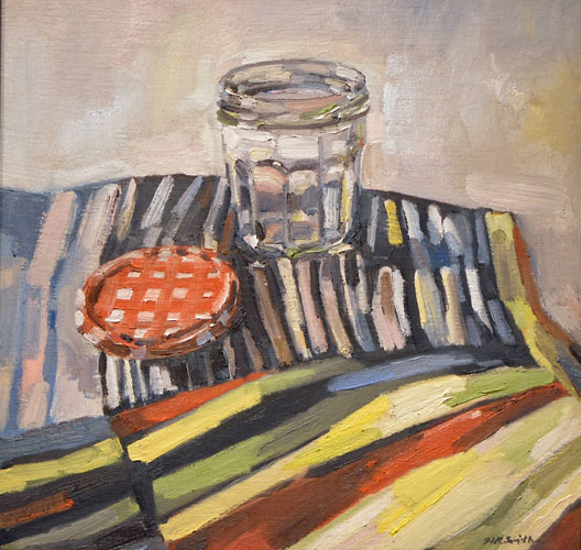 He Finished the Strawberry This Morning, Jelly Jar on Stripes  15x15  oc  $650