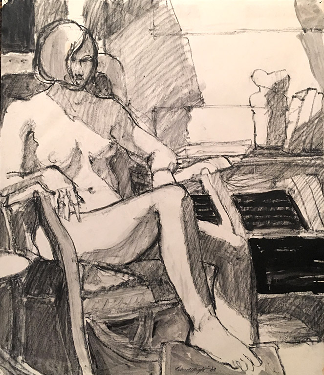 A Leg Up (#24) 18x15.75  charcoal and ink  $550 fr SOLD