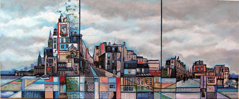Paris Montage 20x48 mm collage triptych SOLD