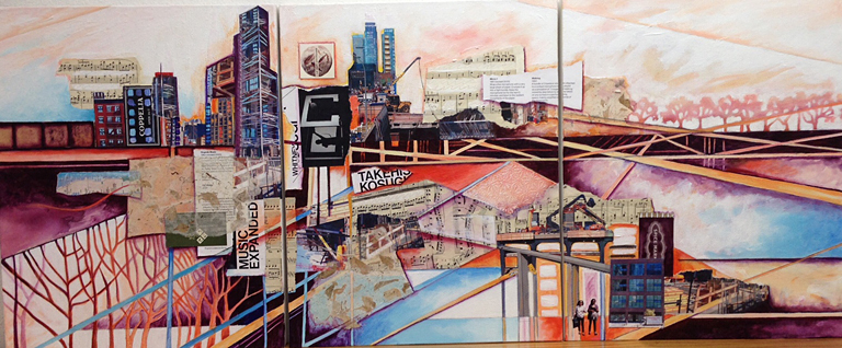 Soundscape NYC  20x48  mm collage triptych  SOLD