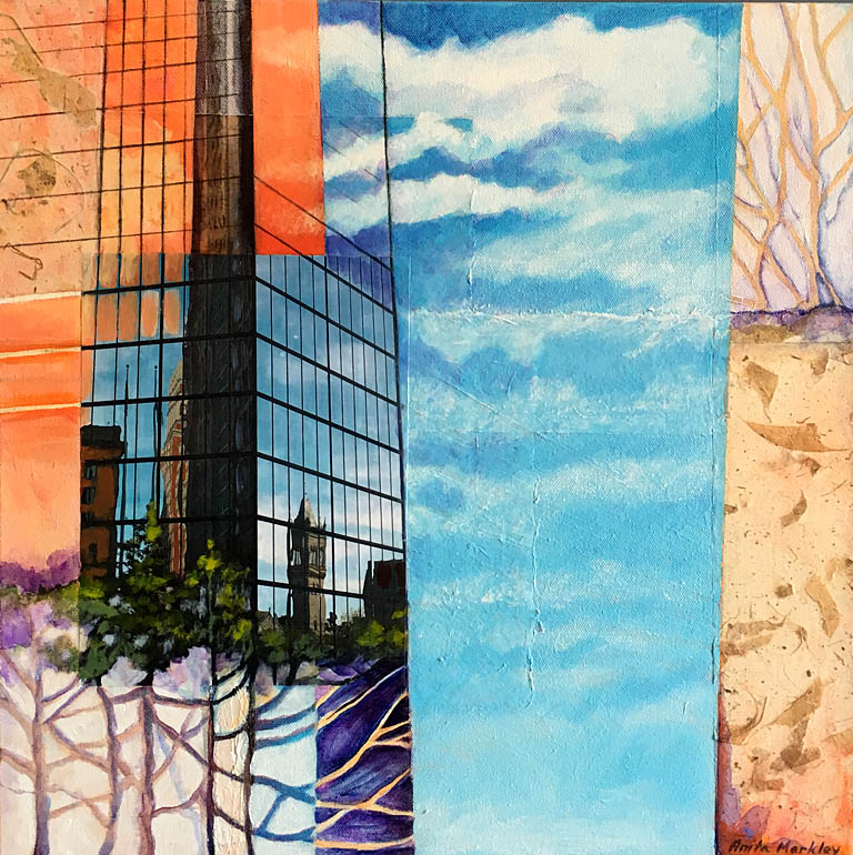 City Reflections I  18x18  mm collage  SOLD