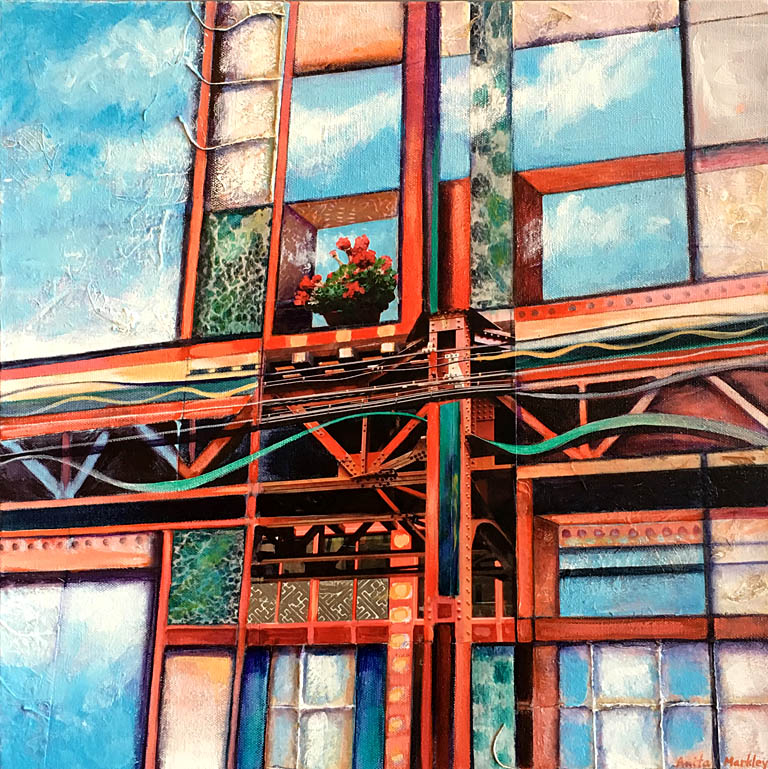 City Reflections II  18x18  mm collage  SOLD