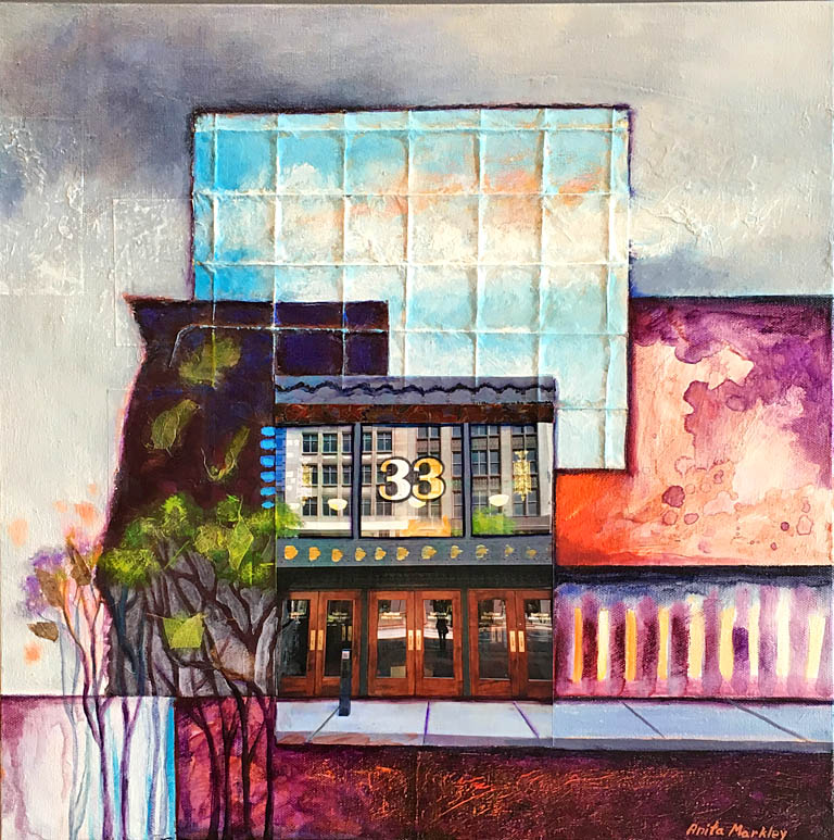 City Reflections III  18x18  mm collage  SOLD