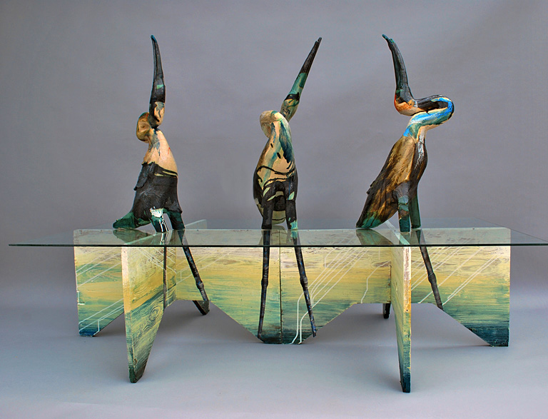 Choreography of the Crane clay, wood, glass $4,500