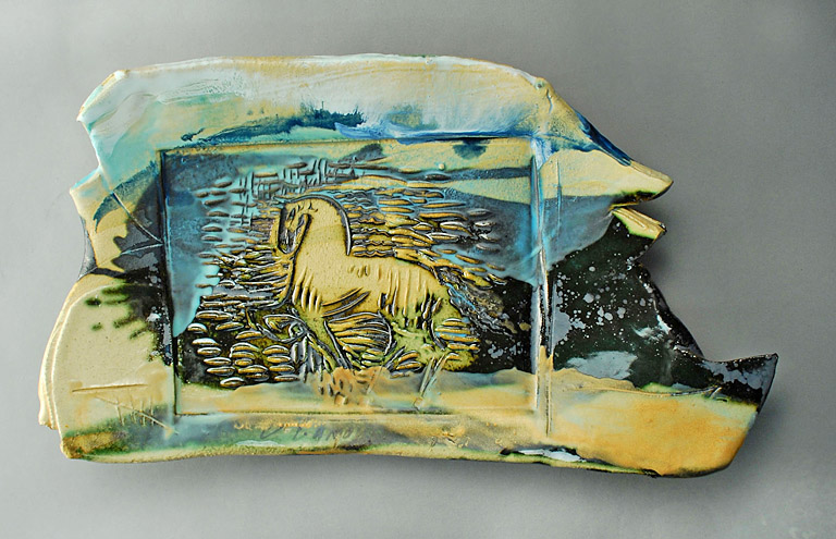 Horse Platter 8x13 ceramic, encaustic $250