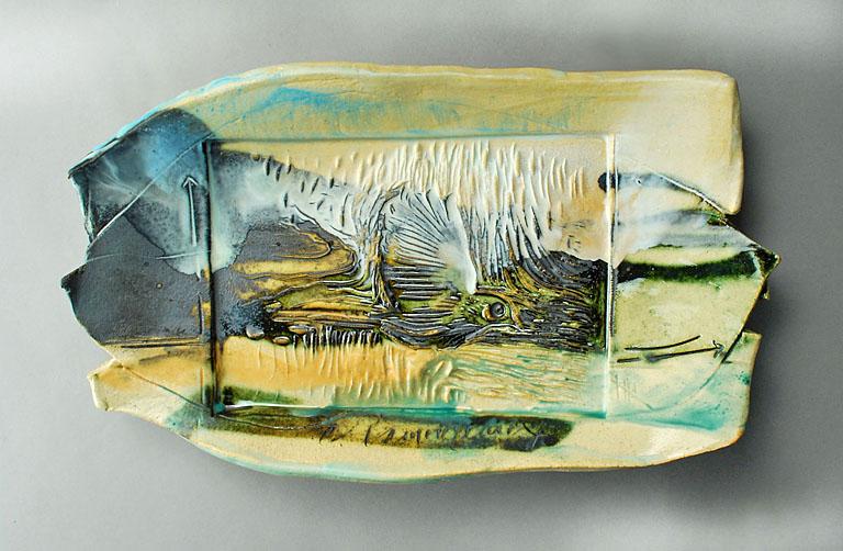 Bird Platter 8x13 stoneware SOLD