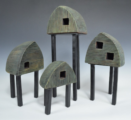Habitat Series - Crowded Quonsets  14x16  $875 (set of 4)
