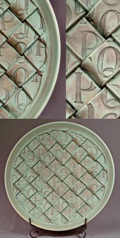 P's and Q's Platter 3x19.5x19.5 ceramic $500