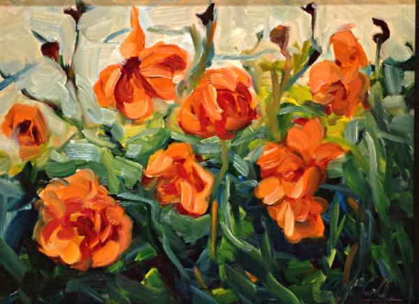 Sunlit Poppies 9x12 oc $450