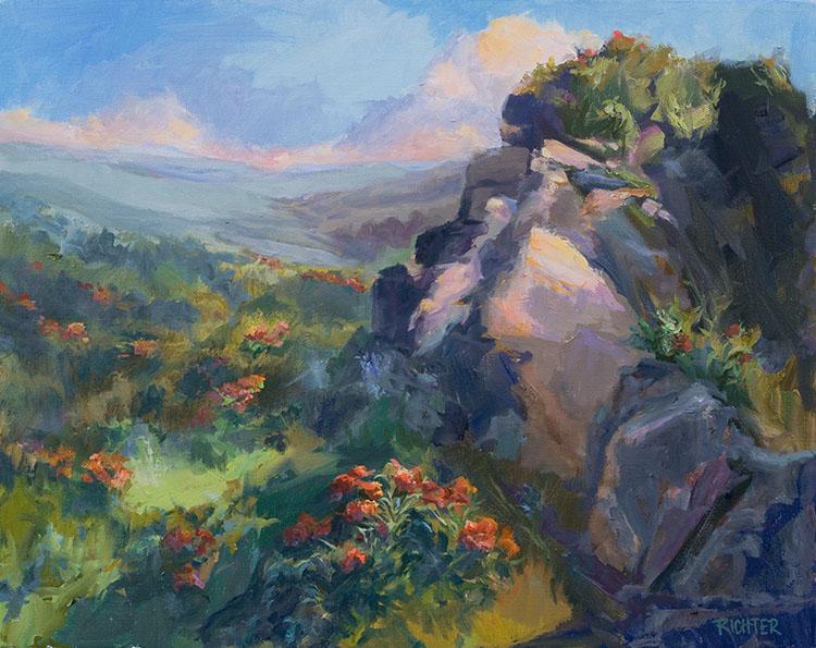 Smoky Hills, Butterfly Milkweed 16x20 oc $1,800 fr