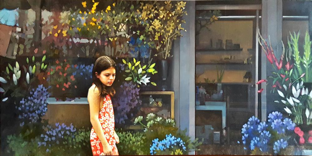 Girl In A Flower Shop  24x48  op  $3,200