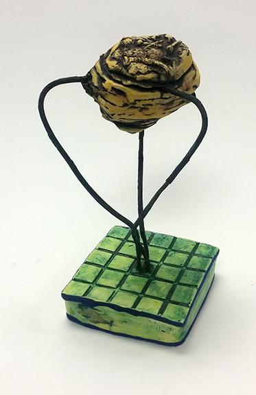 Yellow Circuitry Specimen ceramic and steel $65